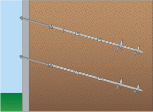 helical tiebacks for bowed walls
