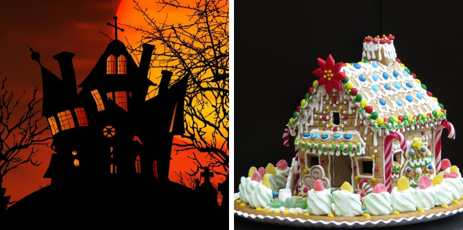 side-by-side photos of a black witches house with orange background and a candy gingerbread house on a black background