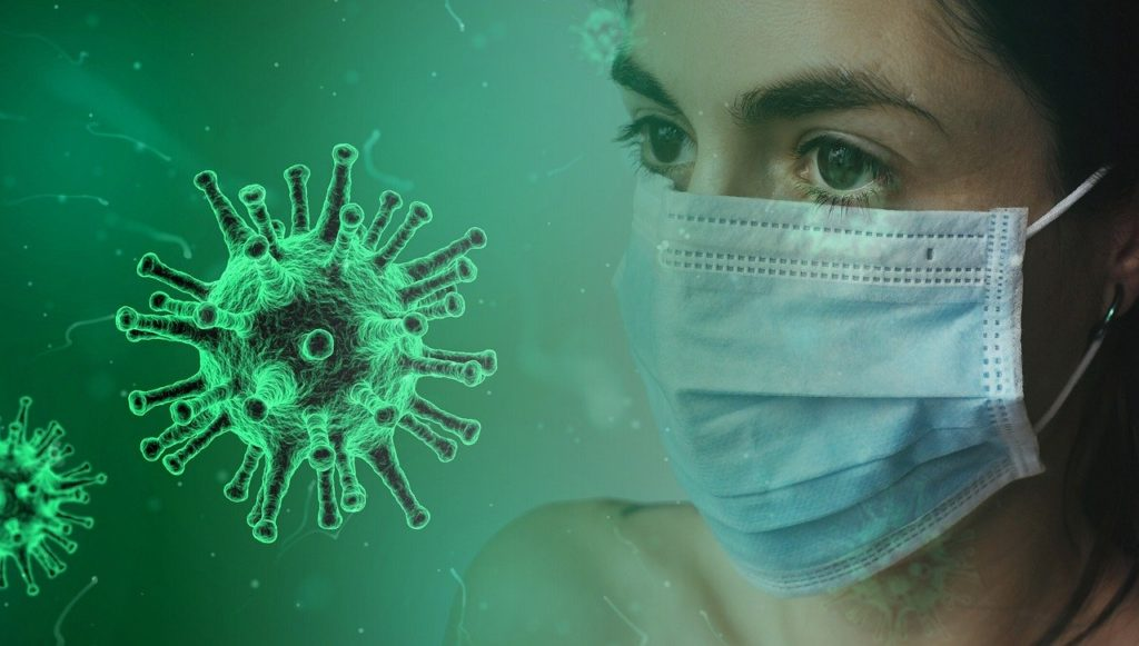 Woman wearing a mask next to a COVID-19 virus