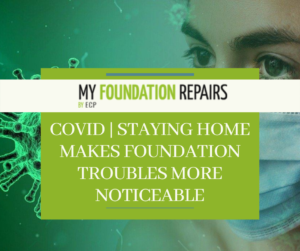 Woman in a mask next to a COVID-19 virus with My Foundation Repair logo overtop